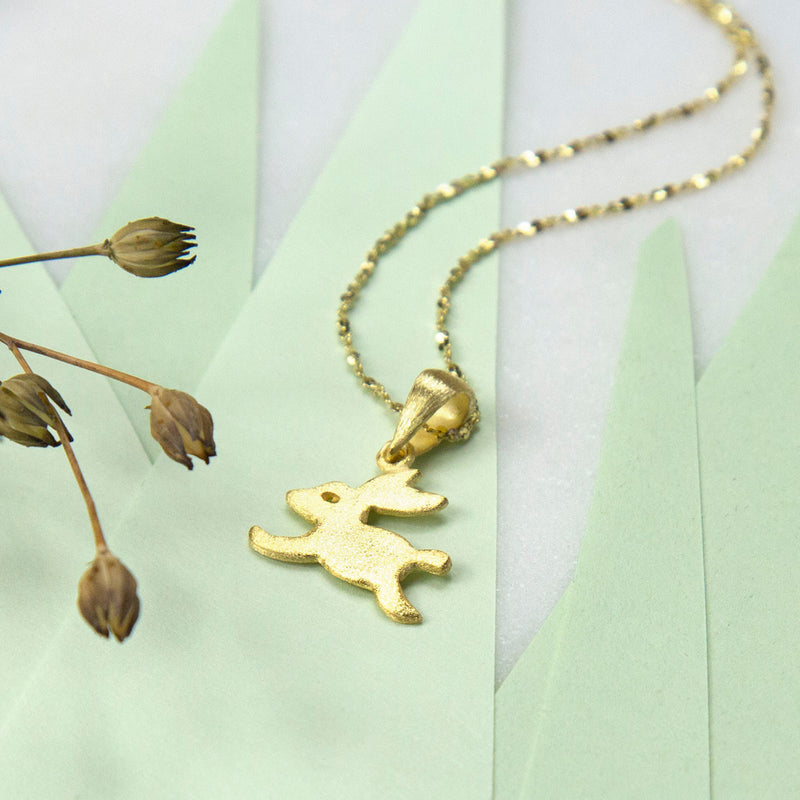 Gold Plated Sterling Silver Bouncing Bunny Necklace