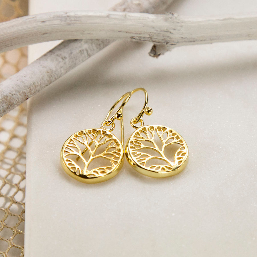 Gold Plated Sterling Silver Tree Earrings