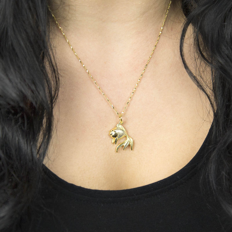 Small Gold plated long finned fish pendant necklace