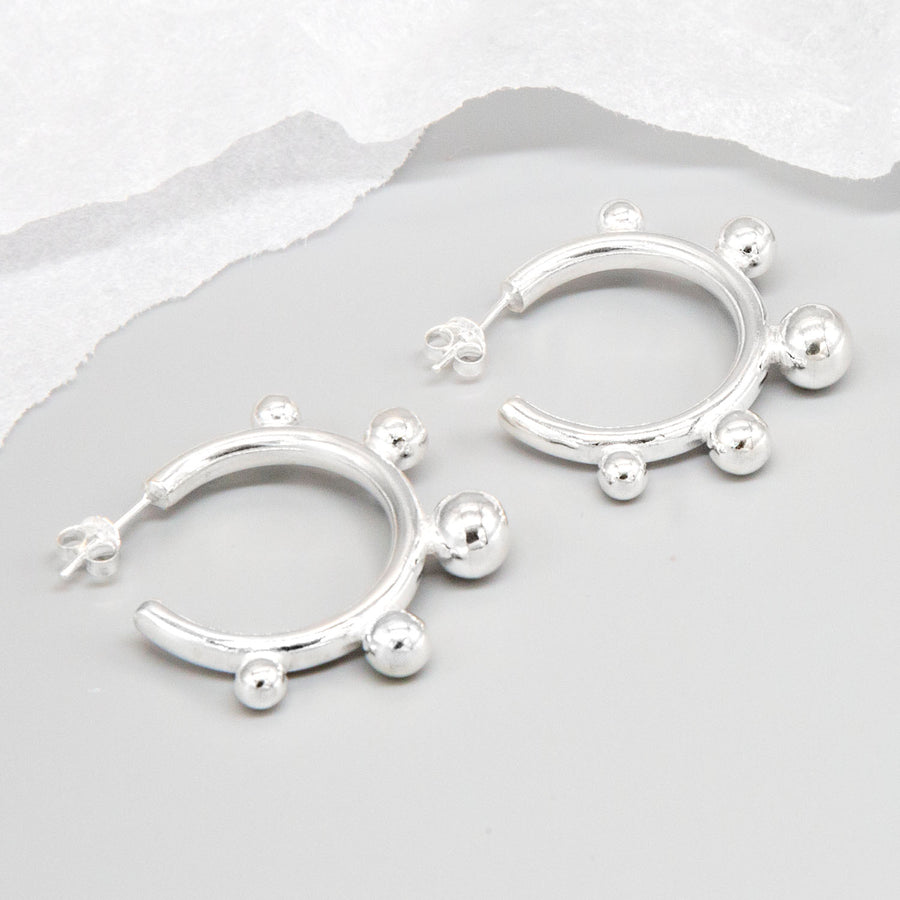Sterling Silver Bauble Hoop Earrings