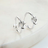 Sterling Silver Contemporary Knot Stud Hoop Earrings
