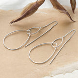 Sterling Silver Fine Teardrop Threader Earrings