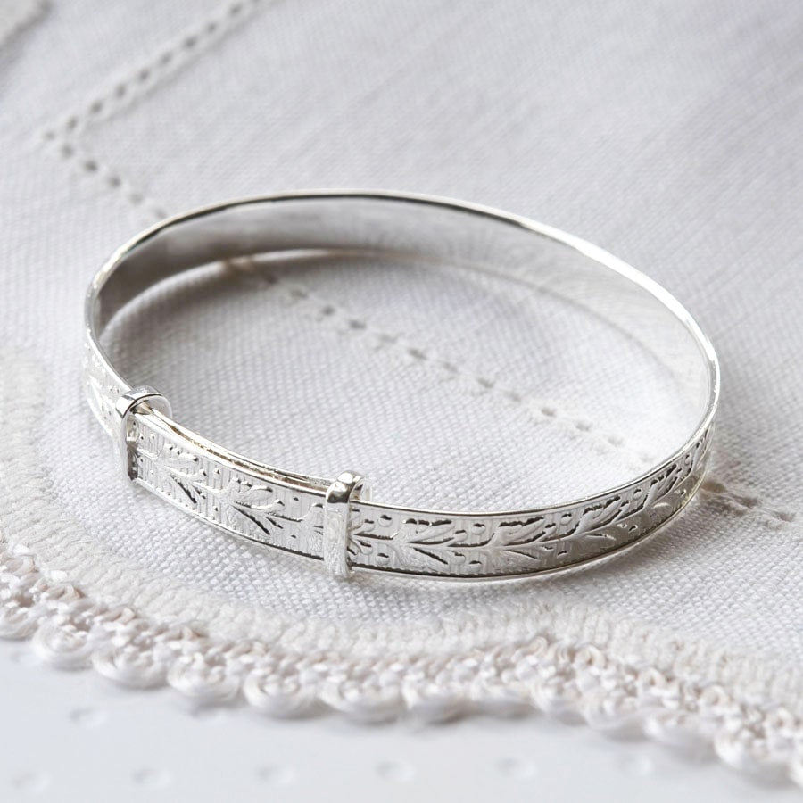 Silver adjustable decorative leaves baby bangle