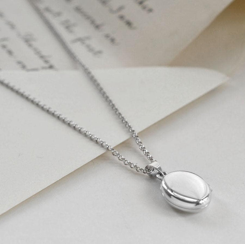 Silver small blank oval locket