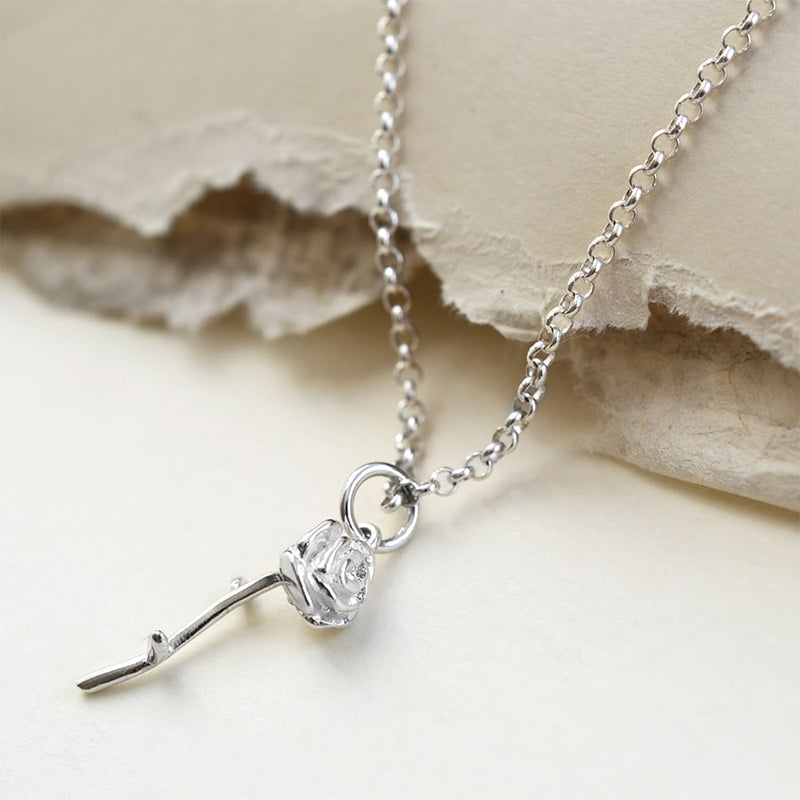 Silver tiny stemmed rose necklace