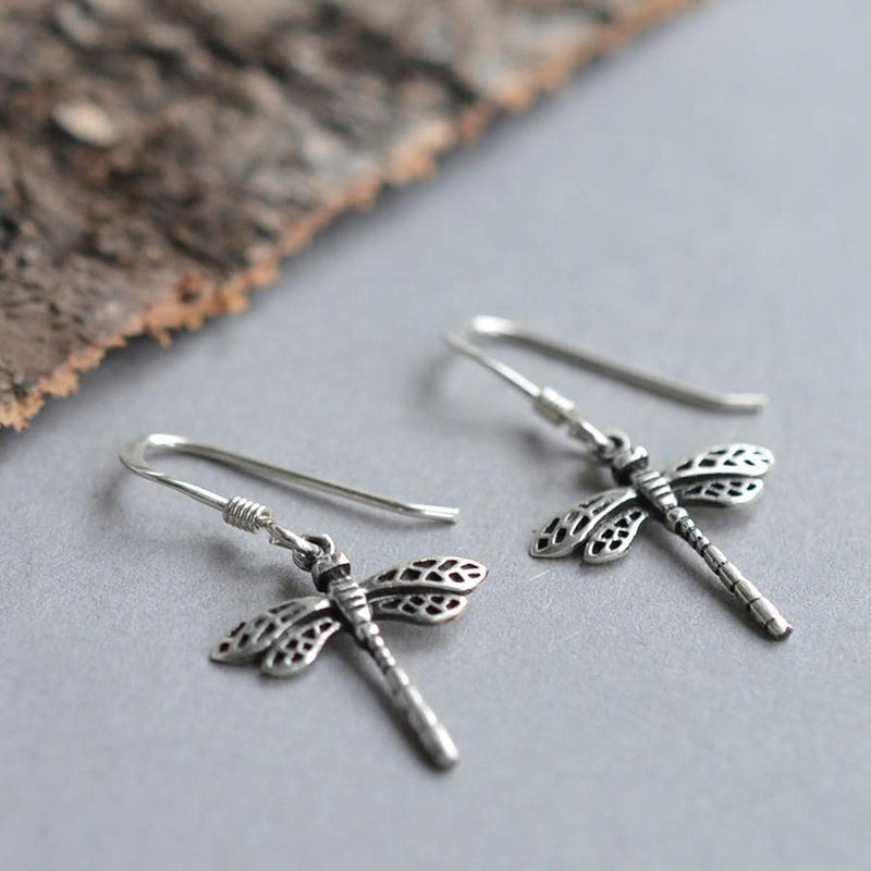 Silver small hanging dragonfly in flight earrings