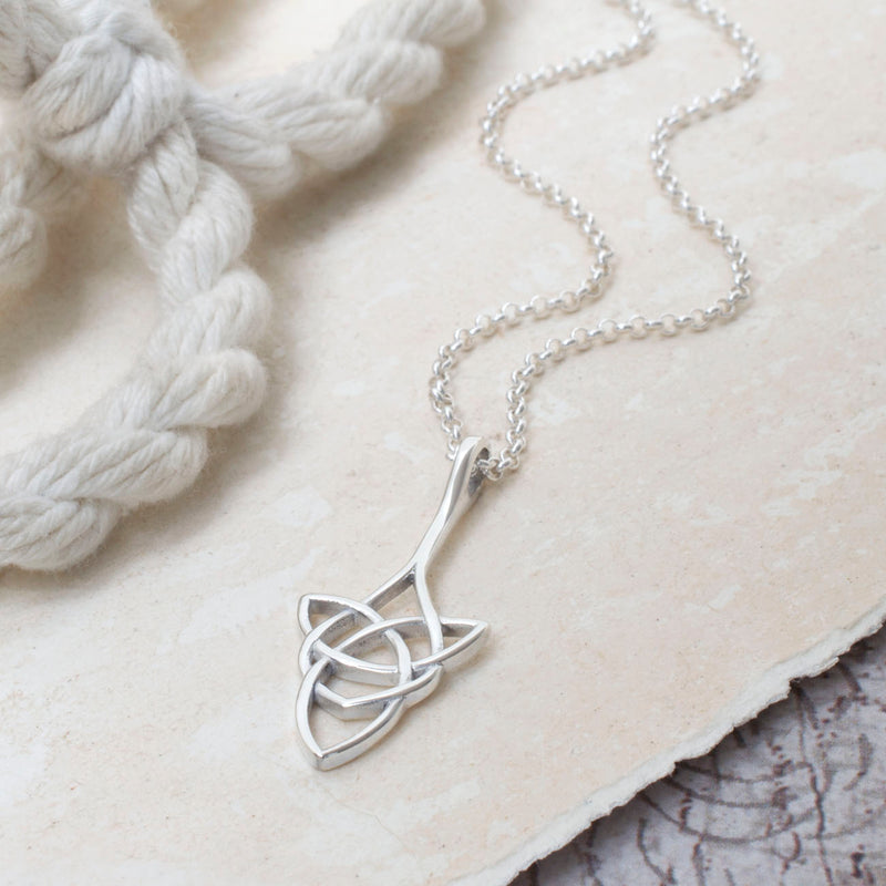 Sterling Silver Oval Celtic Triquetra Necklace