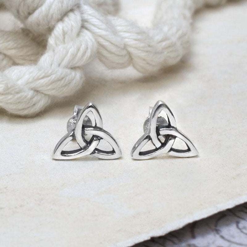 Sterling Silver Celtic Triquetra Stud Earrings
