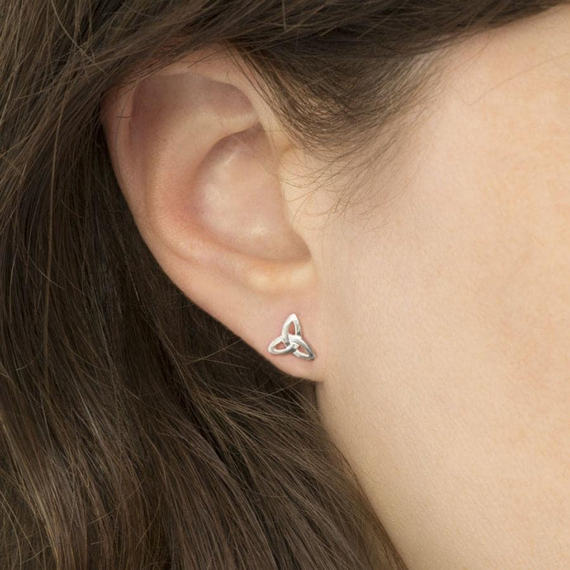 Sterling Silver Small Celtic Triquetra Stud Earrings