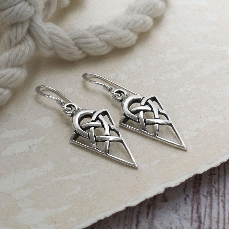 Sterling Silver Celtic Triangle Earrings