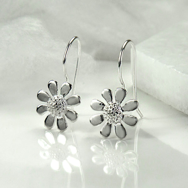 Silver Contemporary Daisy Earrings