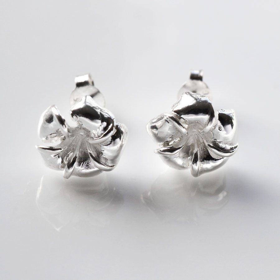 Sterling Silver Pansy Stud Earrings