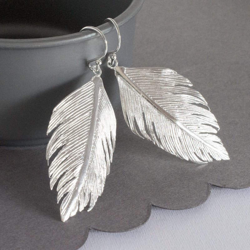 Sterling Silver Angelic Feather Dangly Earrings