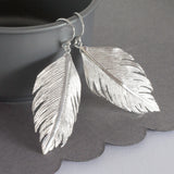 Sterling Silver Angelic Feather Earrings