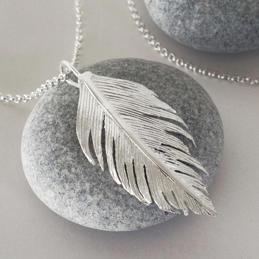 Sterling Silver Angelic Feather Necklace