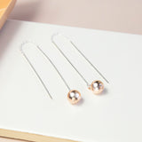 Sterling Silver And Rose Gold Threader Earrings