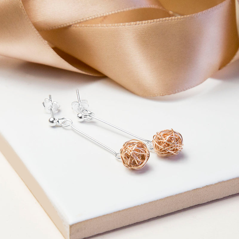 Sterling Silver And Rose Gold Kitten Ball Earrings