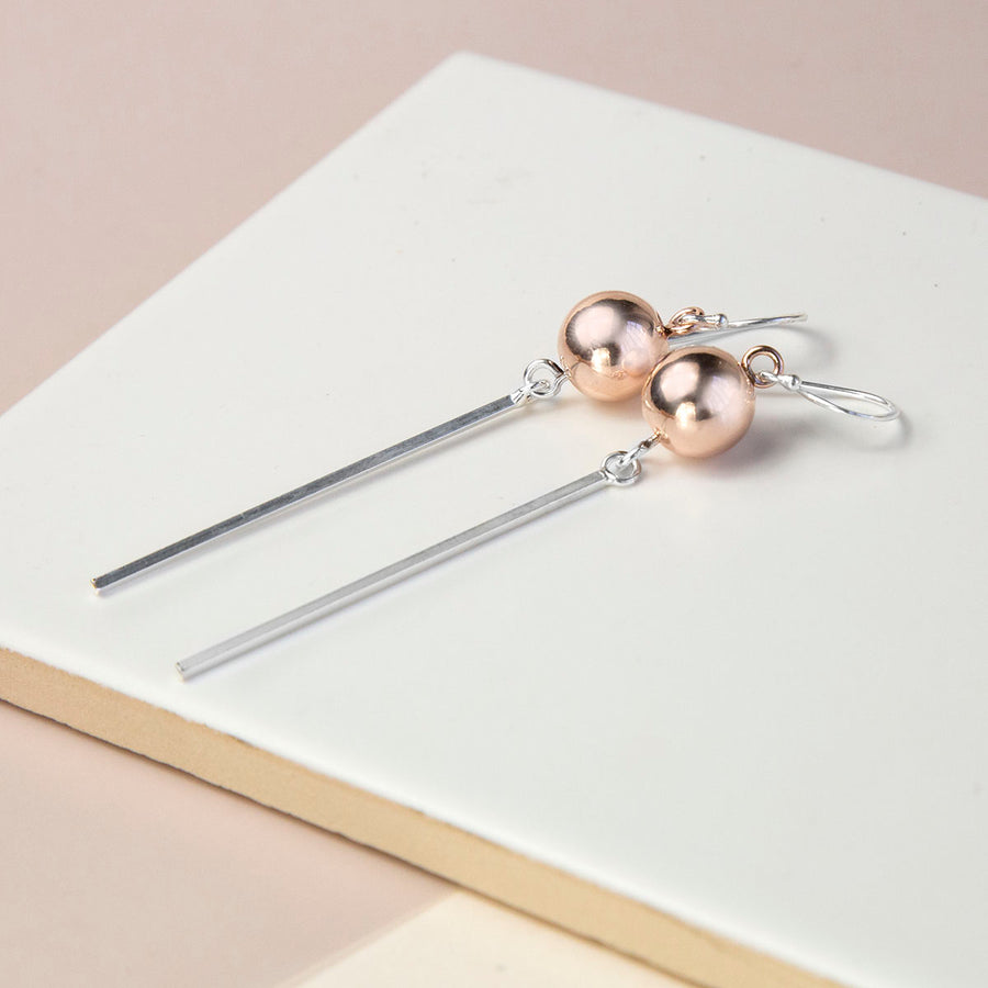 Sterling Silver And Rose Gold Ball And Bar Earrings