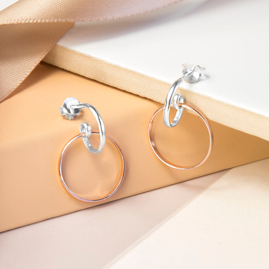 Sterling Silver And Rose Gold Ring Stud Earrings
