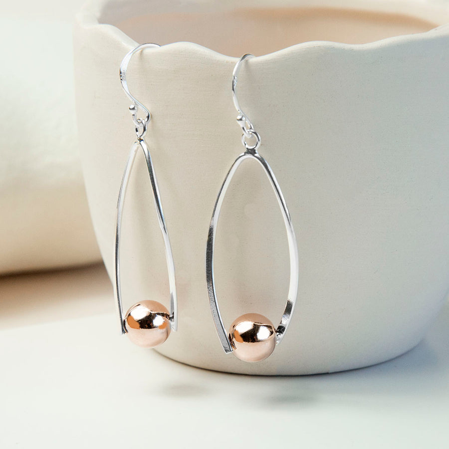 Silver And Rose Gold Contemporary Oval Earrings
