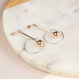 Sterling Silver And Rose Gold Art Deco Stud Earrings