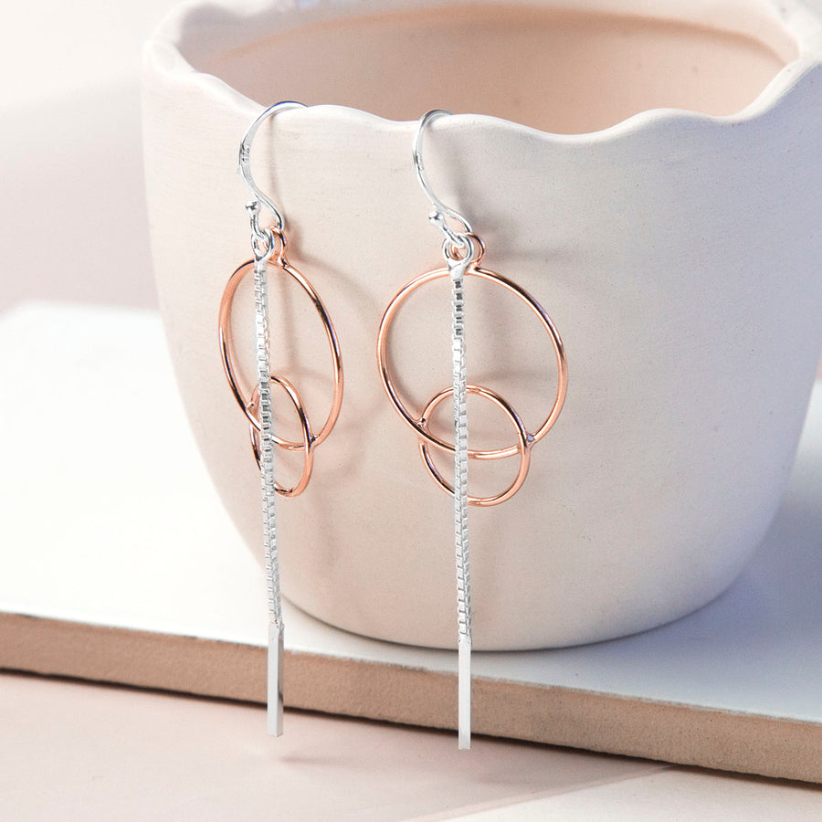 Sterling Silver And Rose Gold Designer Drop Earrings