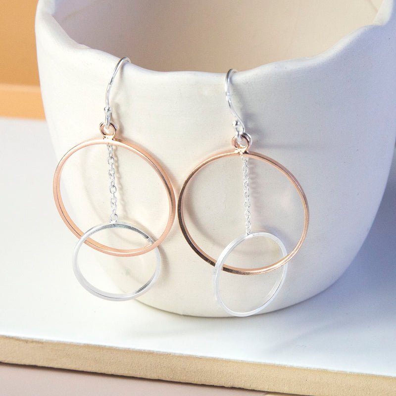 Sterling Silver And Rose Gold Funky Circles Earrings