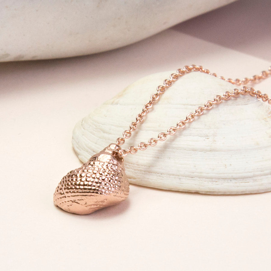Rose Gold Plated Sterling Silver Nutmeg Shell Necklace