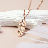 Rose Gold Plated Sterling Silver Feather Necklace