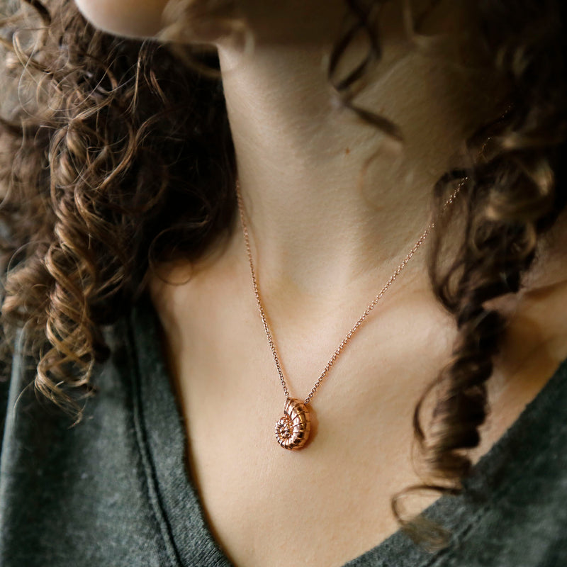 Sterling Silver Rose Gold Nautilus Shell Necklace