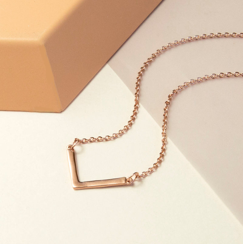 Rose Gold Plated Sterling V Shaped Necklace