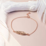 Rose Gold Plated Sterling Silver Feather Bracelet