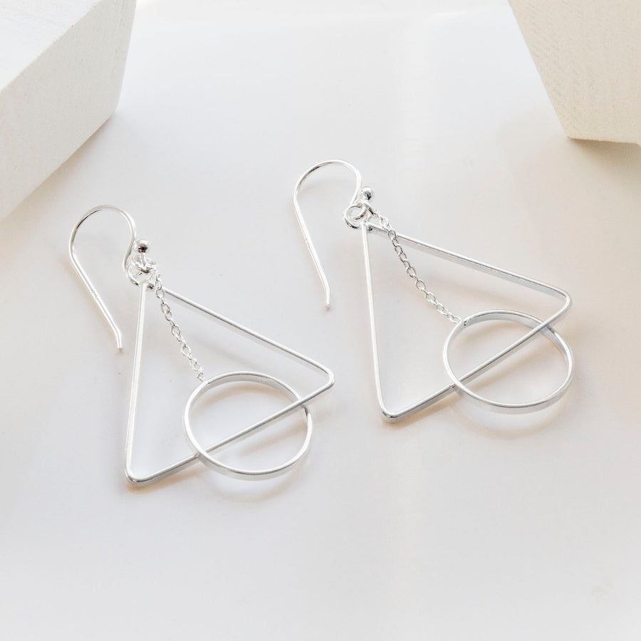 Sterling Silver Triangle And Circle Earrings