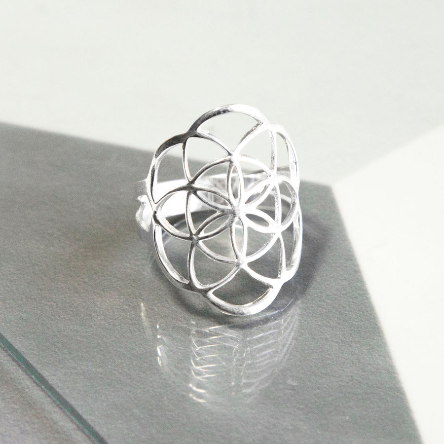 Sterling Silver Geometric Flower Ring