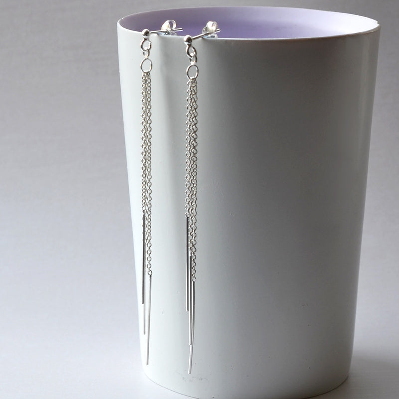 Silver Cascading Chains Earrings