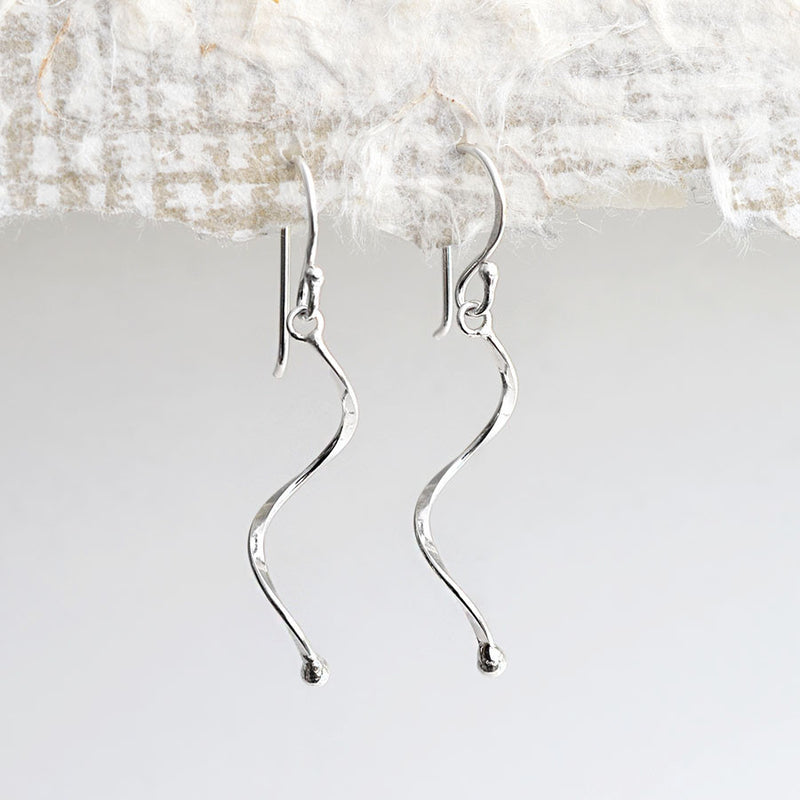 Sterling Silver Simple Wave Earrings