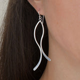 Sterling Silver Curved Ribbon Earrings
