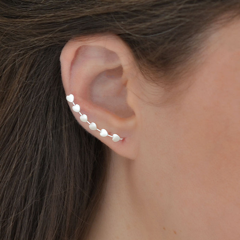 Sterling Silver Heart Ear Climbers