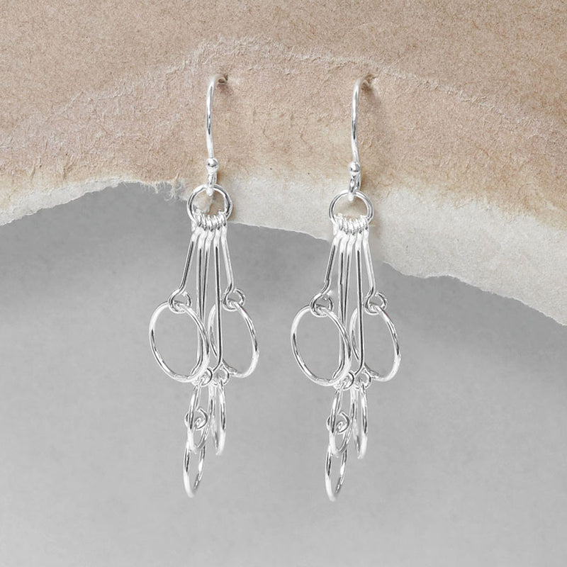 Sterling Silver Cascading Circles Earrings