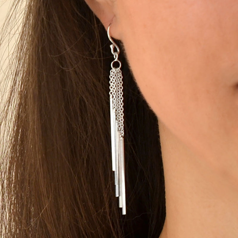 Sterling Silver Cascading Bars Earrings