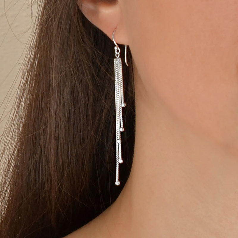 Sterling Silver Cascading Chain Drops Earrings
