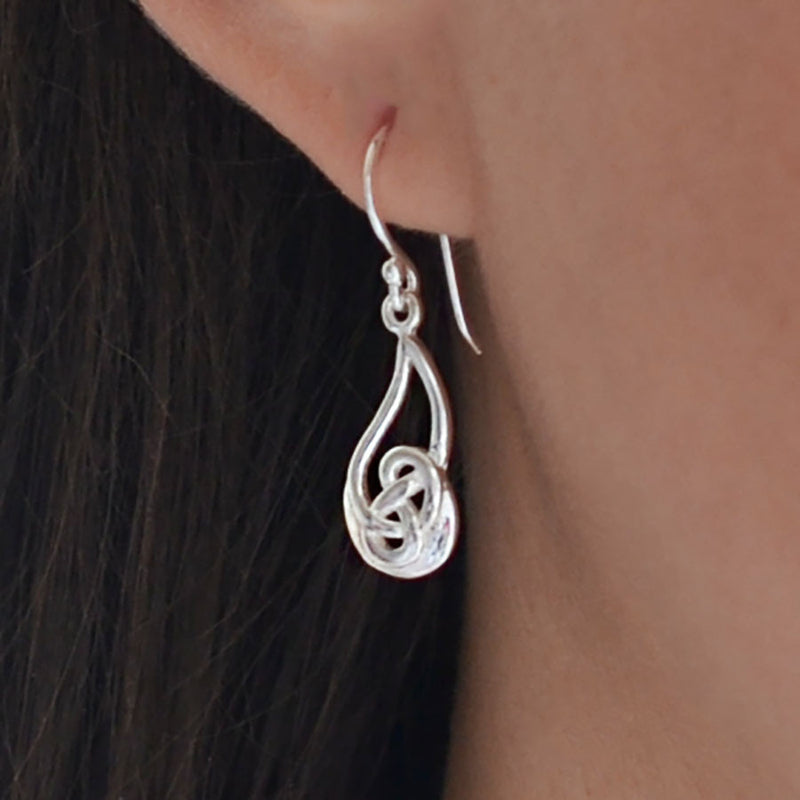 Sterling Silver Celtic Flame Earrings