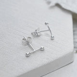 Sterling Silver Petite Bar Earrings