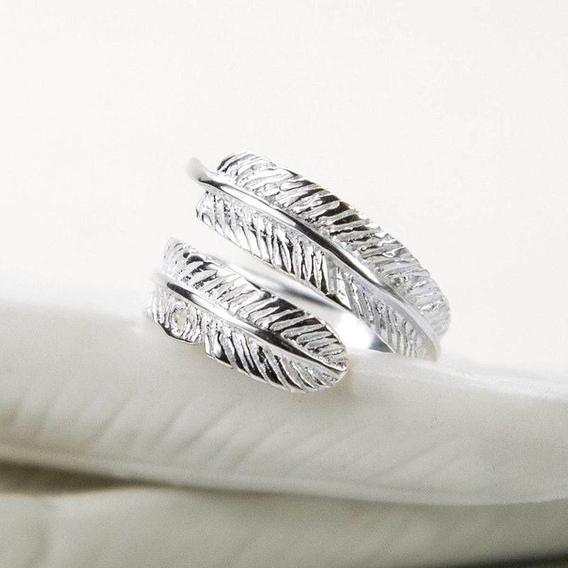 Sterling Silver Adjustable Feather Ring