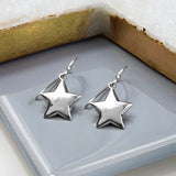Sterling Silver Dangly Star Drop Earrings