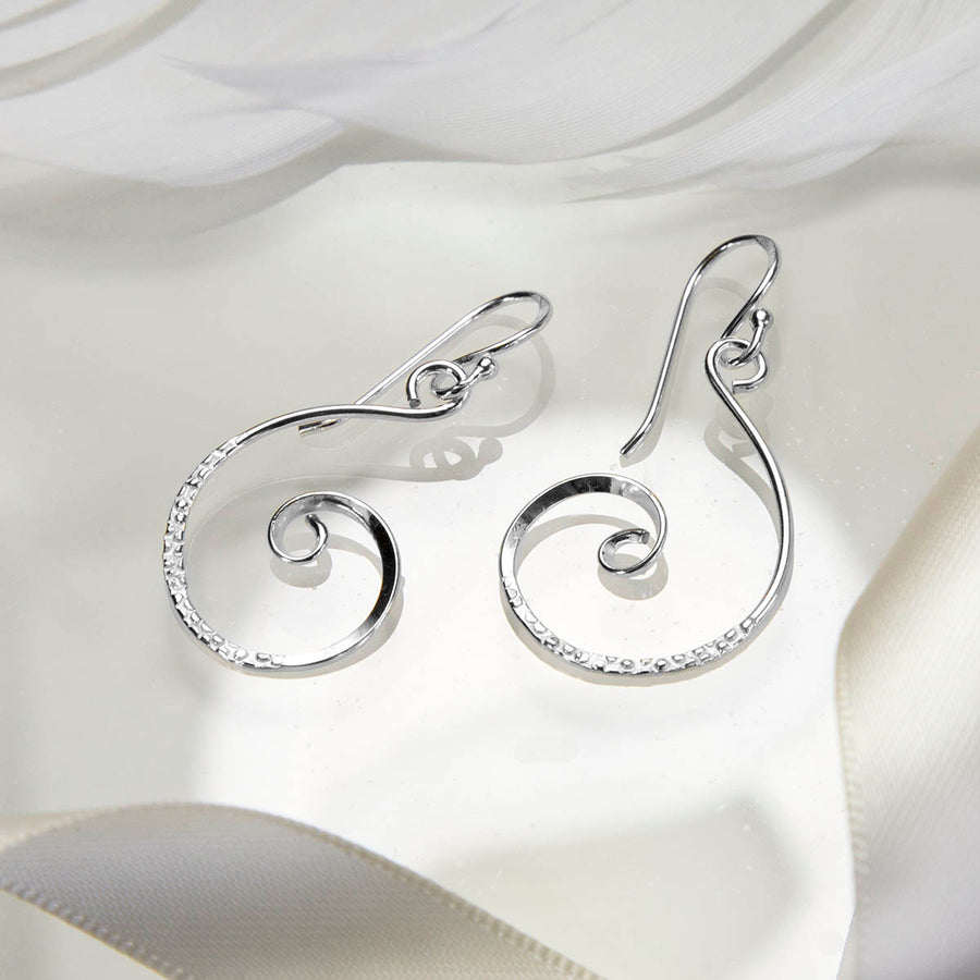 Sterling Silver Textured Curl Earrings