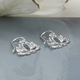 Sterling Silver Lotus Flower Drop Earrings