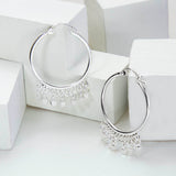 Sterling Silver Hoops With Cubes