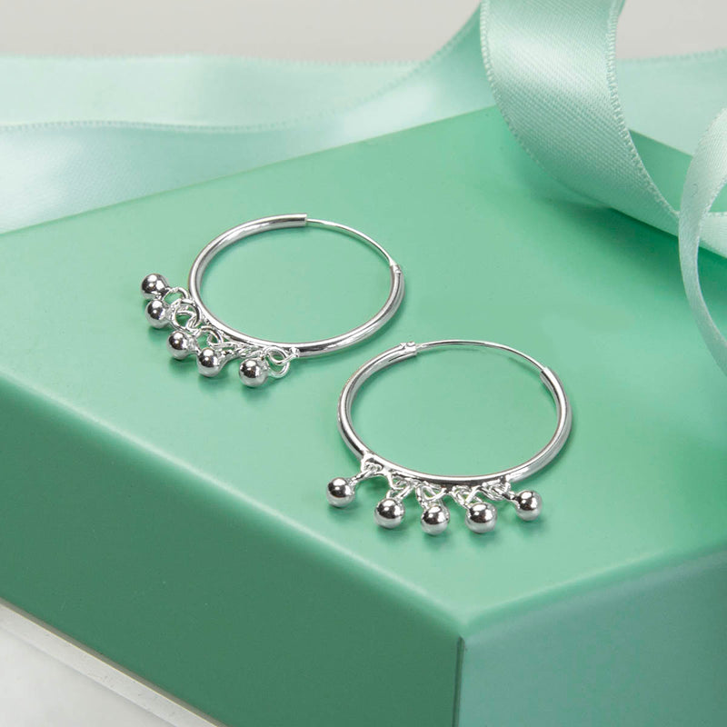 Sterling Silver Hoops With Beads