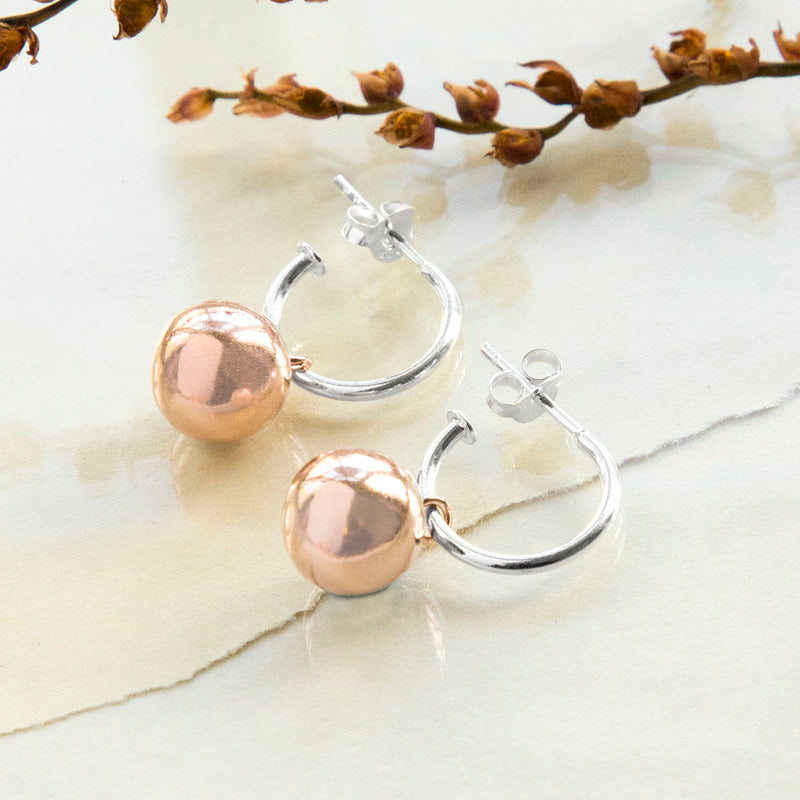 Rose Gold Plated Sterling Silver Ball Hoop Earrings